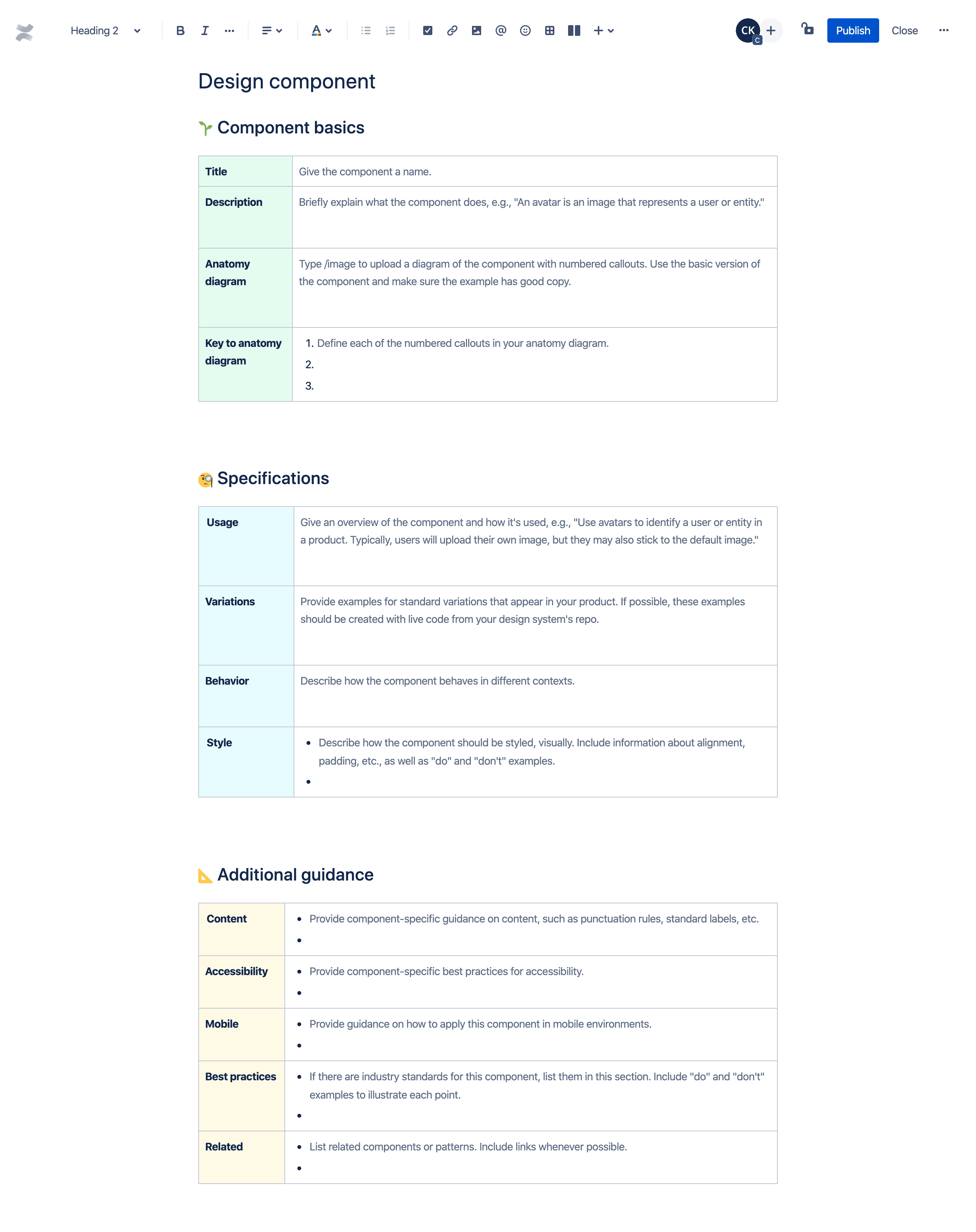 Design component template