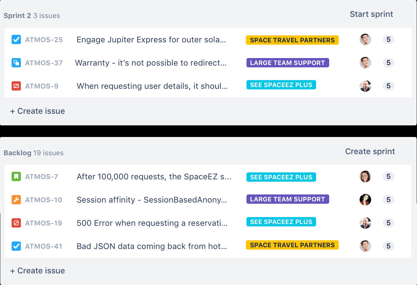 Ejemplo de backlog ágil | Orientador ágil de Atlassian