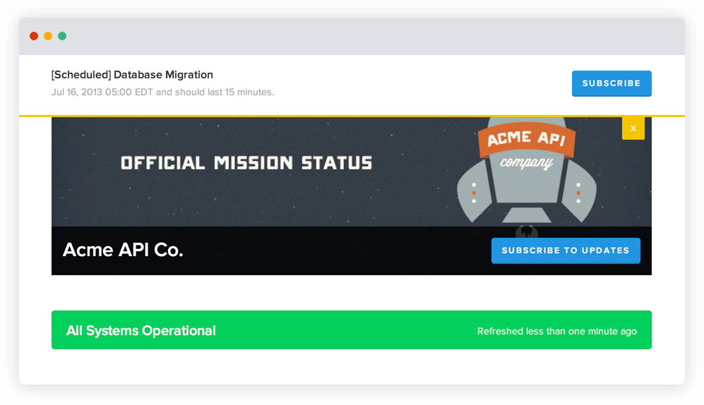 Capture d'écran de la page d'état d'une entreprise