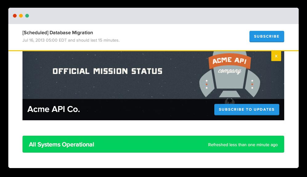 Firmowa strona Statuspage — zrzut ekranu