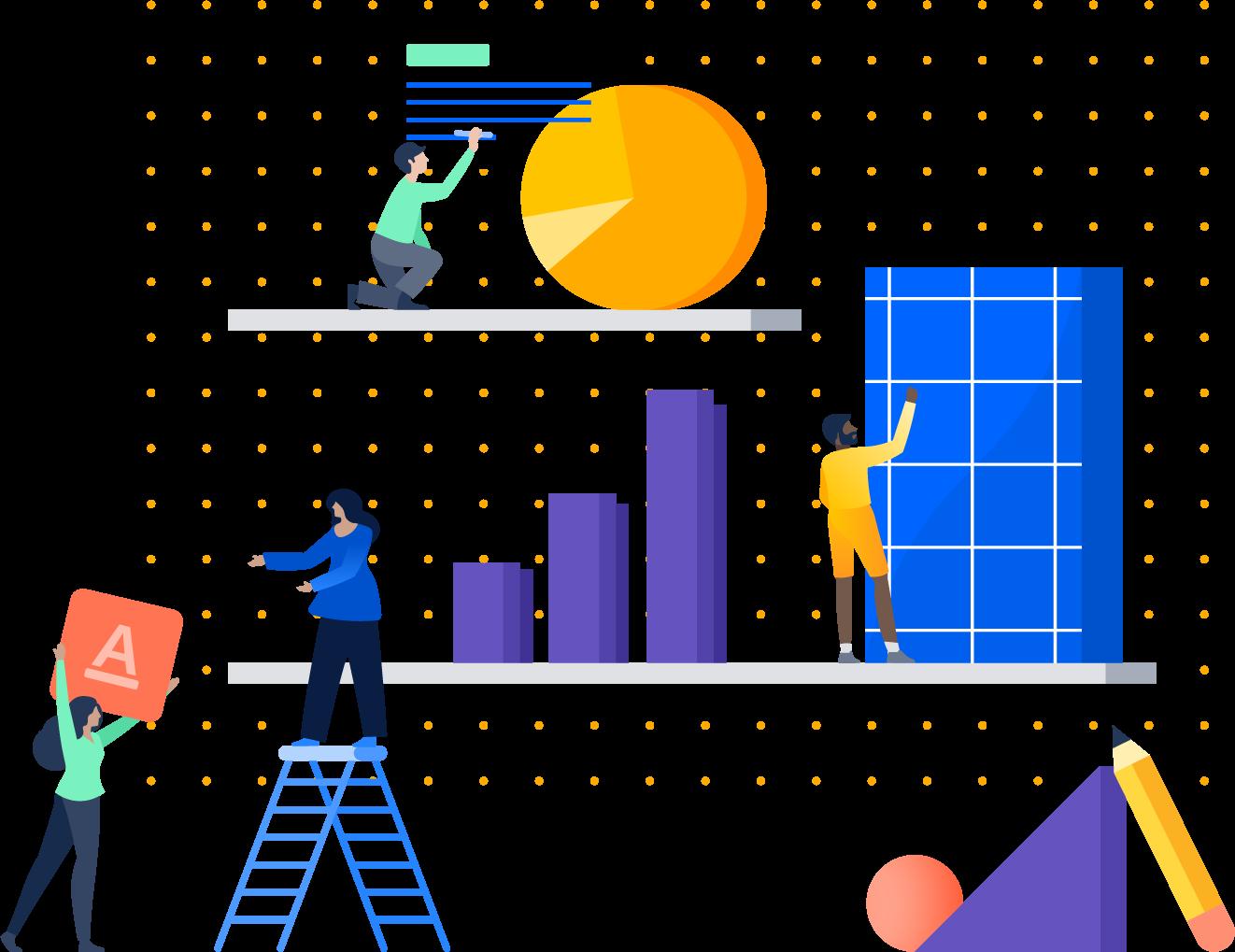 Ilustración de personas apilando objetos en un estante
