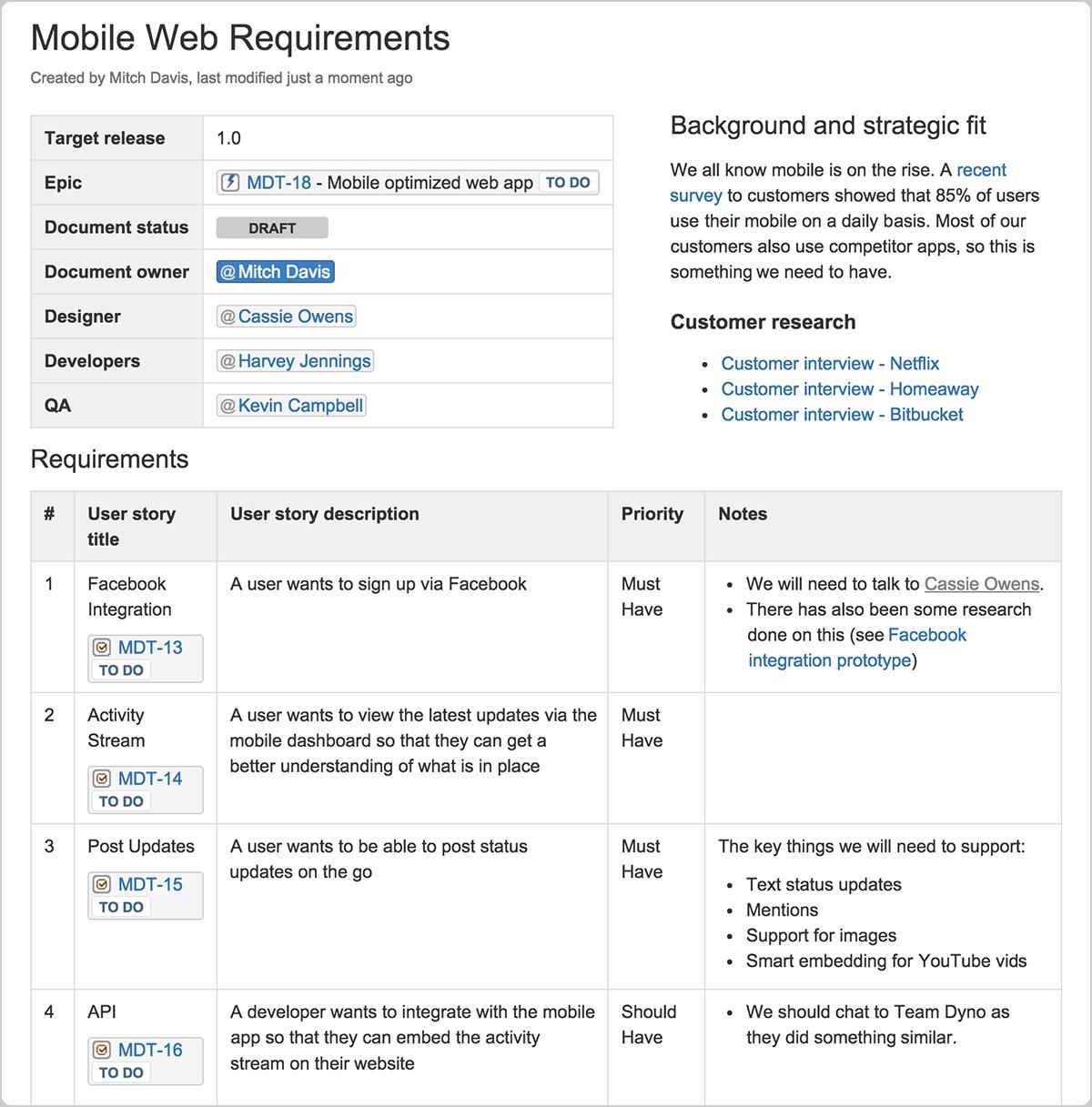Documento de ejemplo de requisitos de productos | Orientador ágil de Atlassian