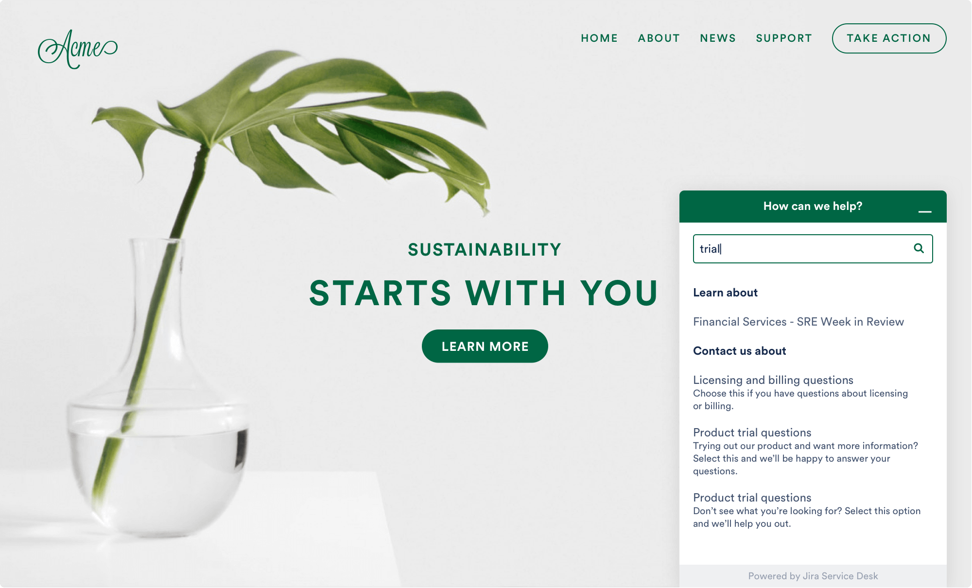 Captura de tela do portal de clientes do Jira Service Desk com o widget integrado