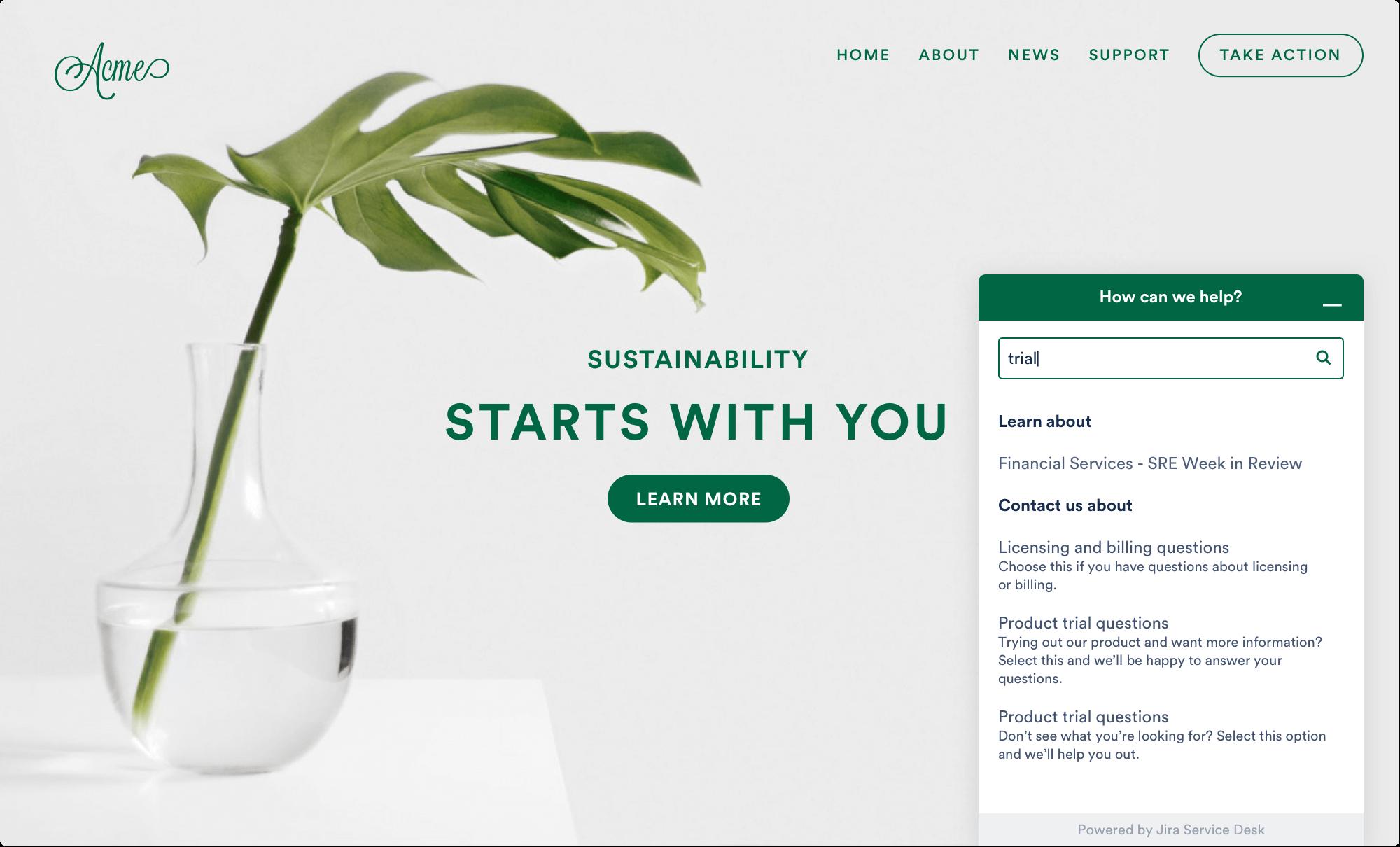 A Jira Service Desk ügyfélportáljának képernyőképe beágyazott widgettel