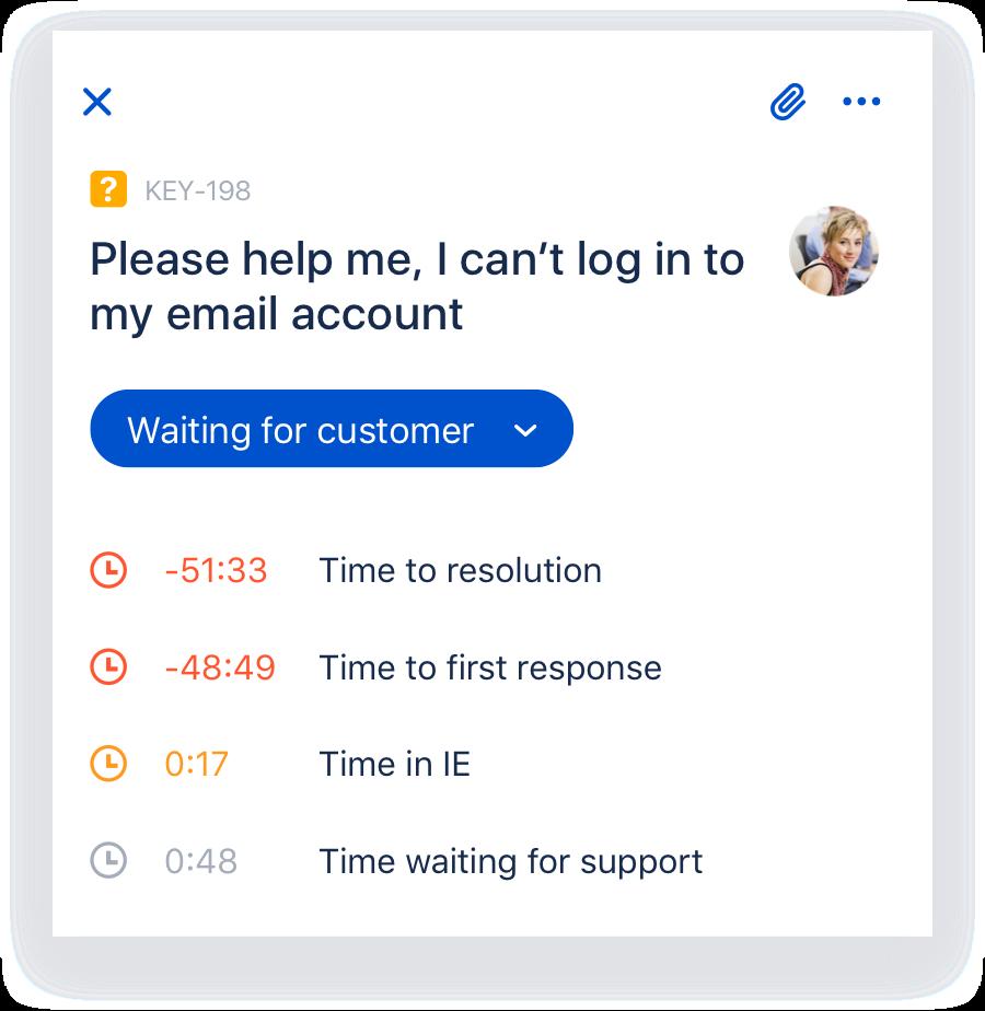 Jira Cloud Mobilesta otettu kuvankaappaus, jossa näkyy Jira Service Deskin tukipyynnön yksityiskohta