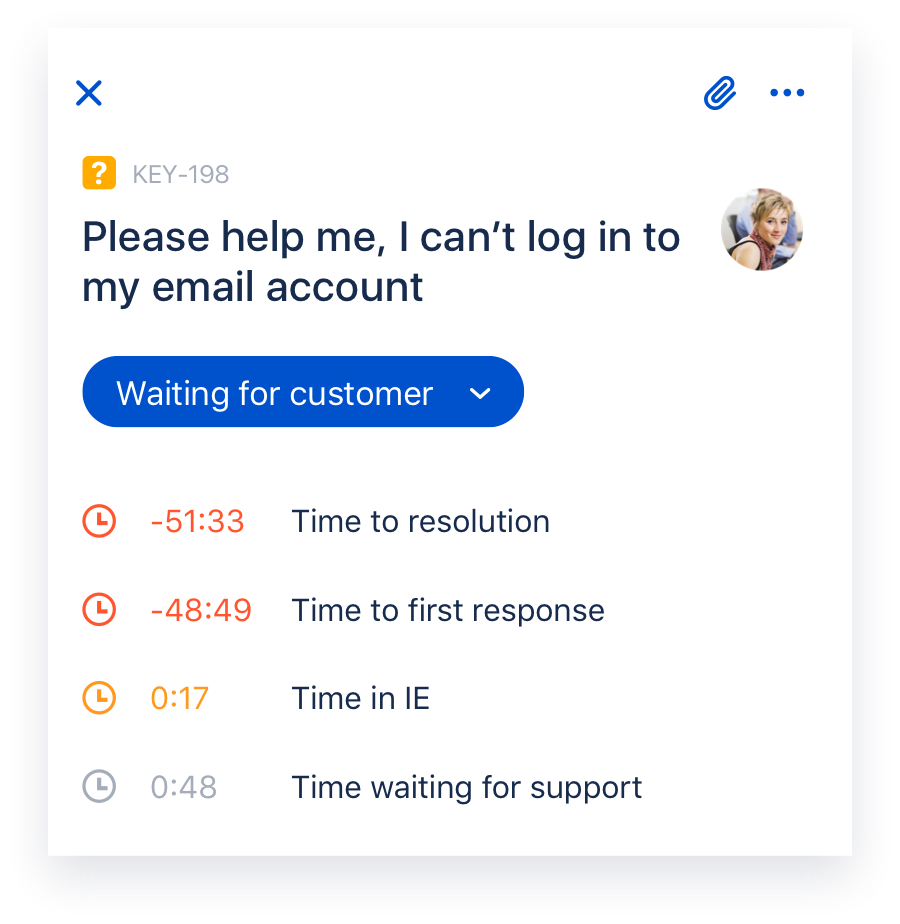 Capture d'écran Jira Cloud mobile affichant le détail d'un ticket Jira Service Desk