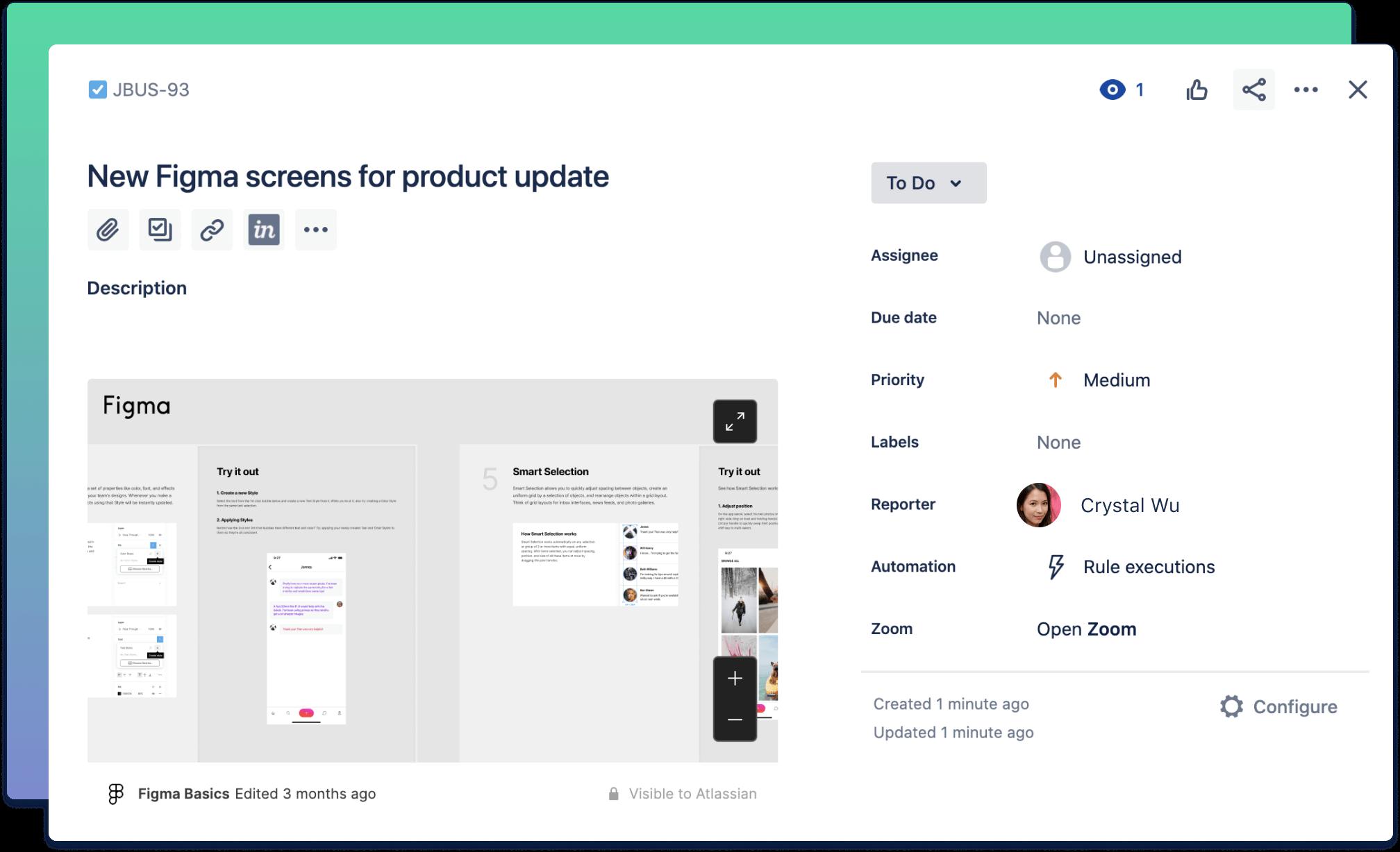 Jira and Figma integration screenshot