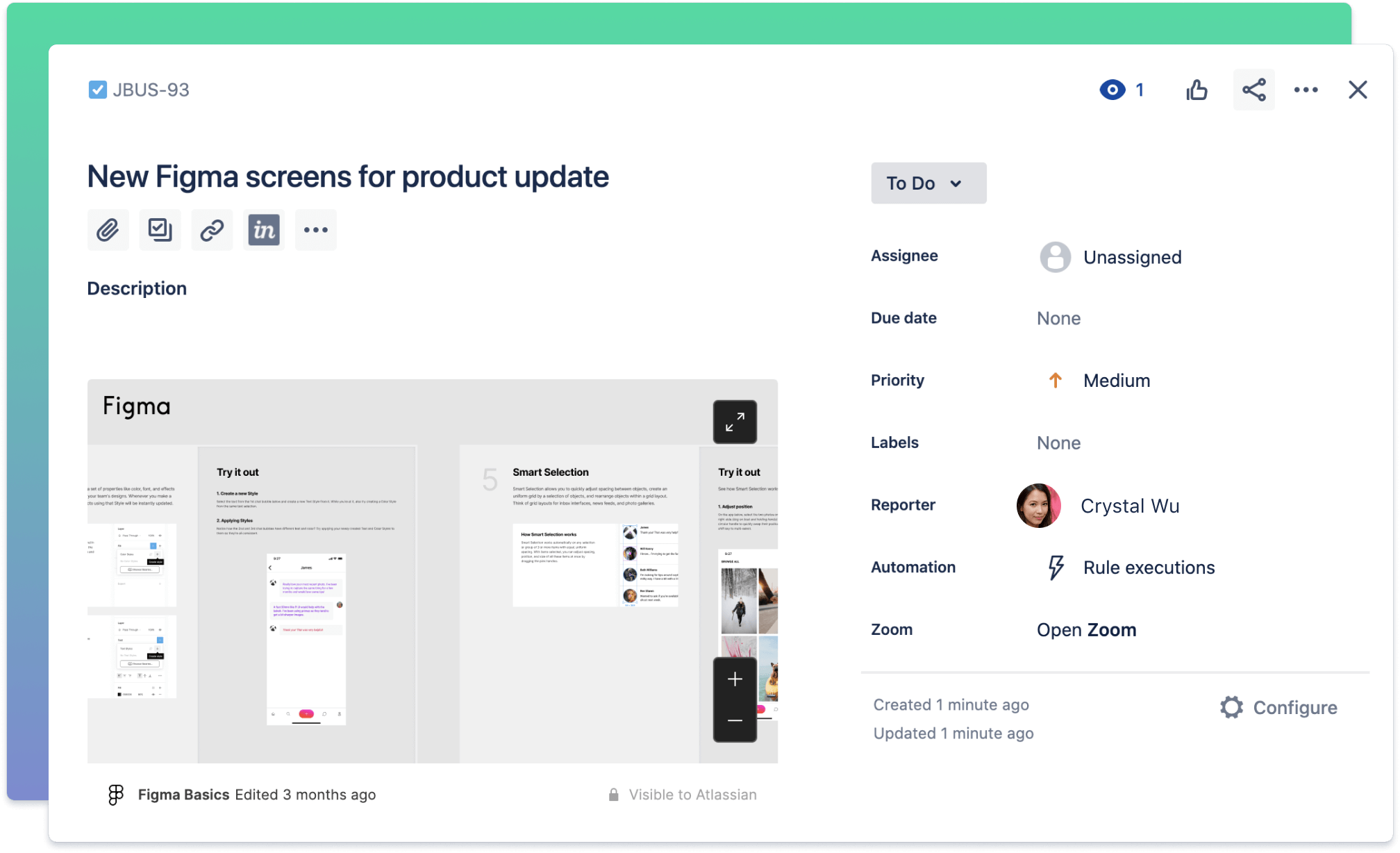 Screenshot: Jira- und Figma-Integration