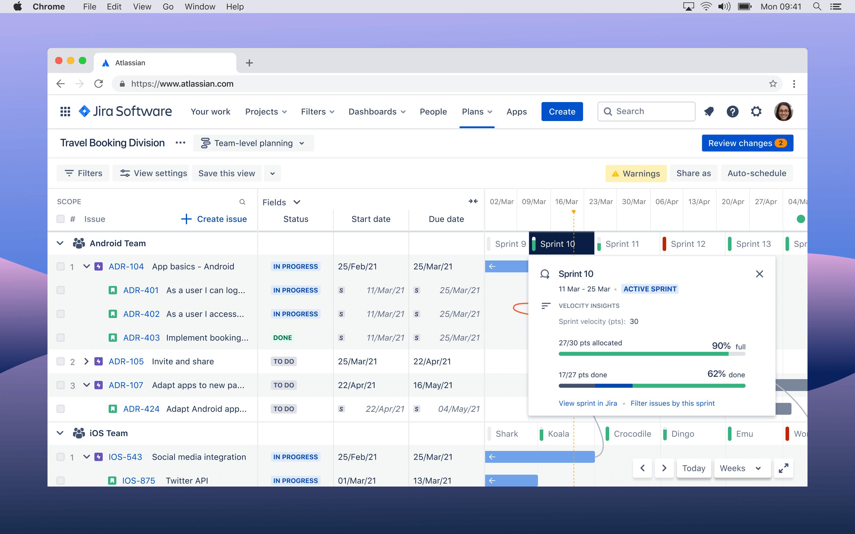 Advanced Roadmaps のスクリーンショット