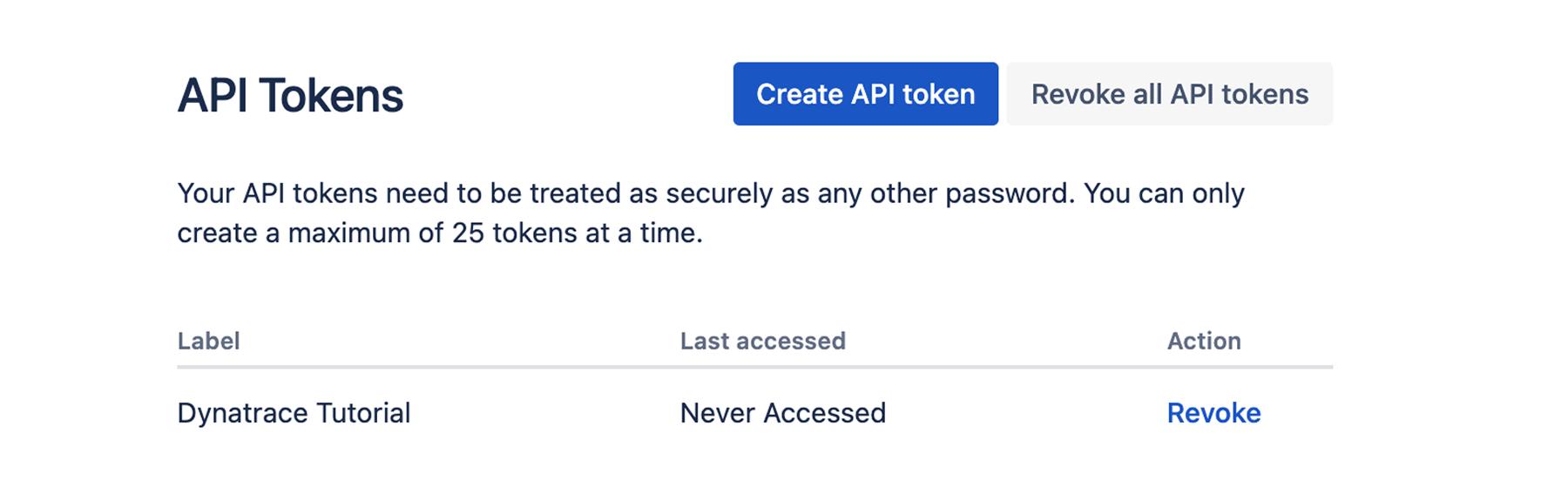 API tokens window