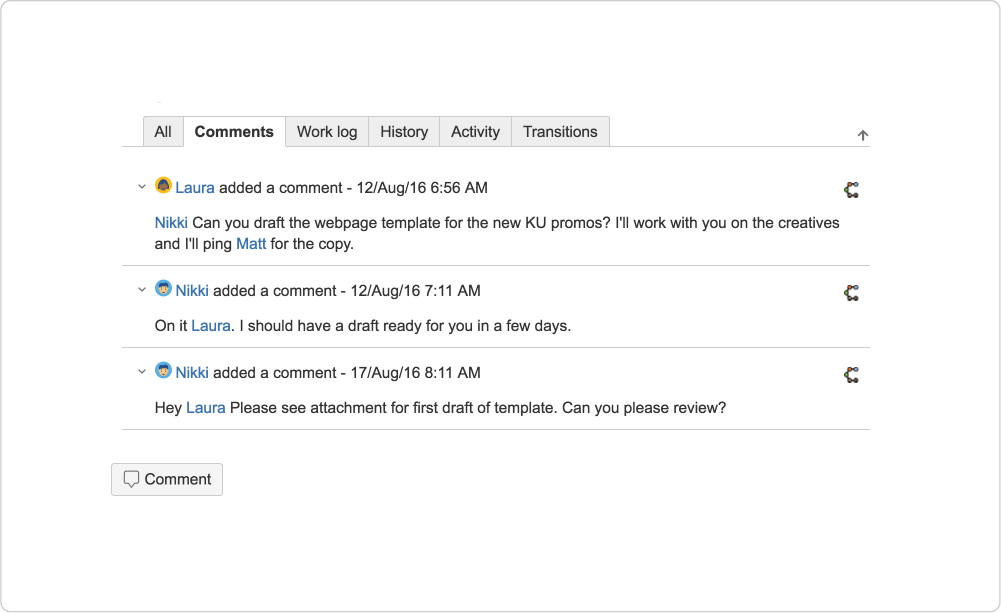 Comments on a Jira ticket tracking progress of project