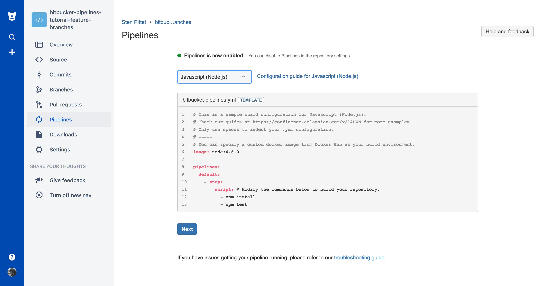 Configuración de canalización JavaScript predeterminada