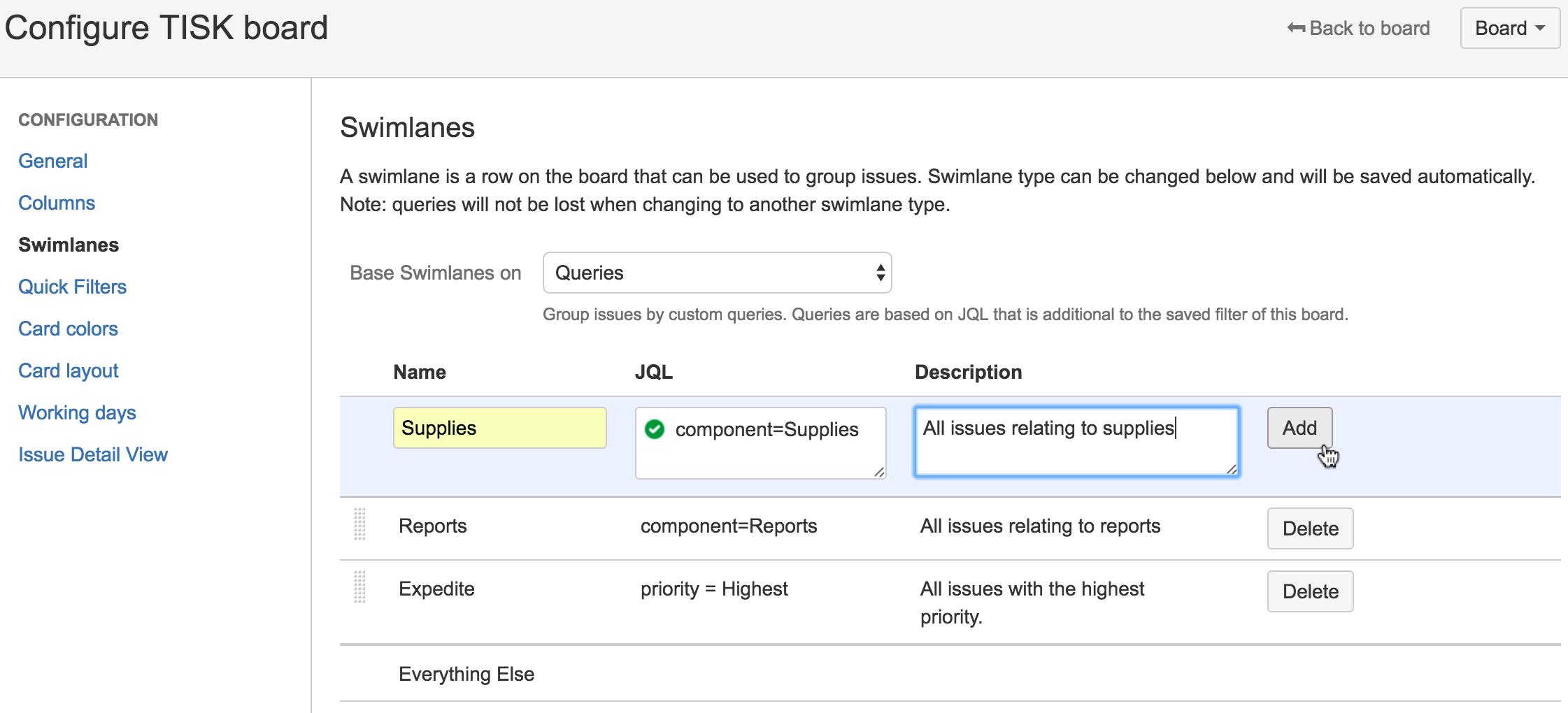 Konfiguration von Swimlanes   Atlassian Agile Coach
