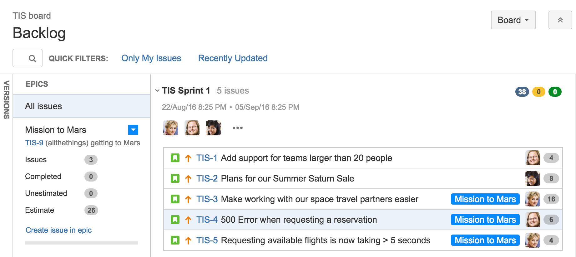 Visualización del panel de epics | Orientador ágil de Atlassian