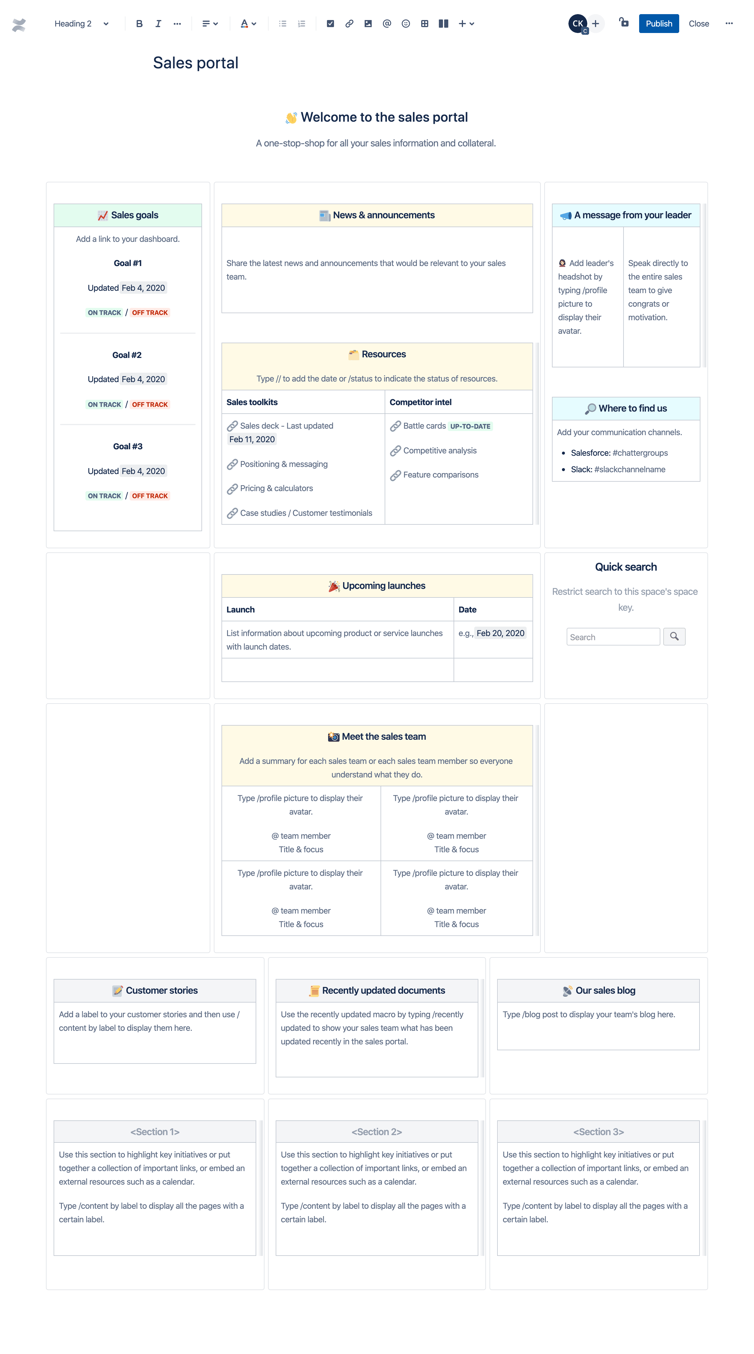 Sales portal template
