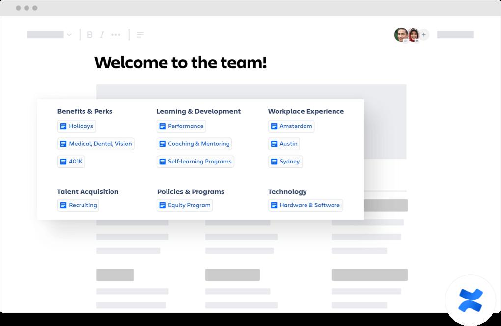 Página de boas-vindas à equipe do Confluence