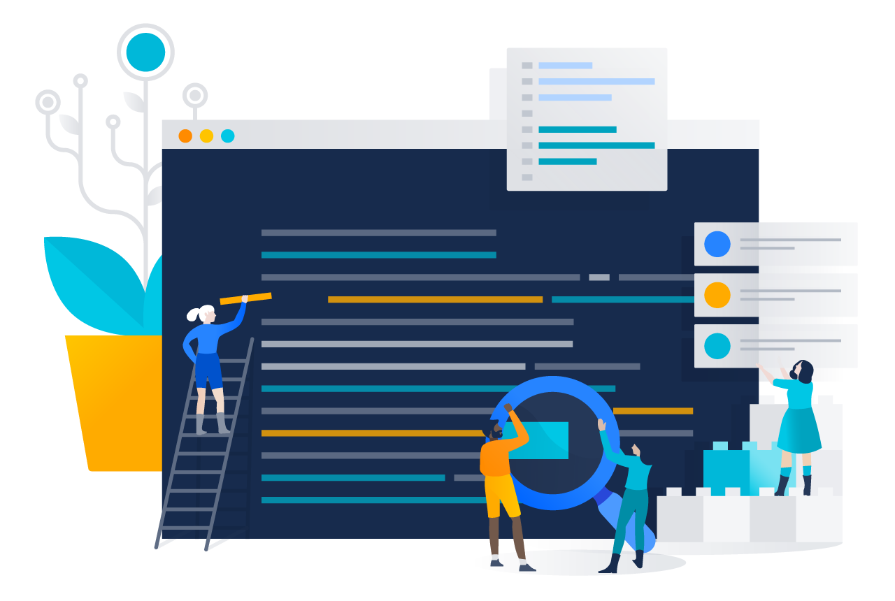A team works together to inspect code before release. | Atlassian CI/CD