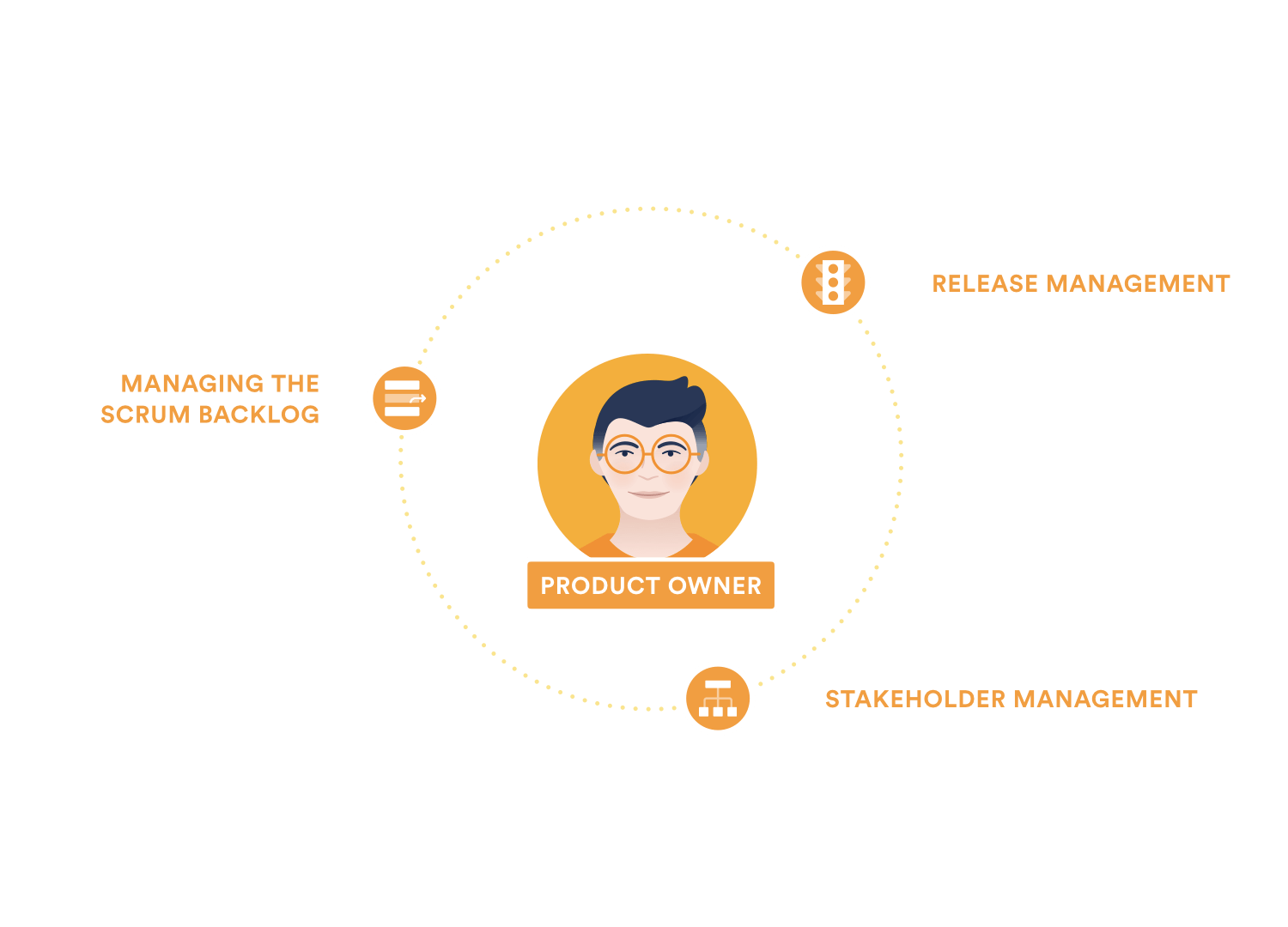 A diagram showing the product owner's responsibilities: Manage the product backlog, release management, stakeholder management.