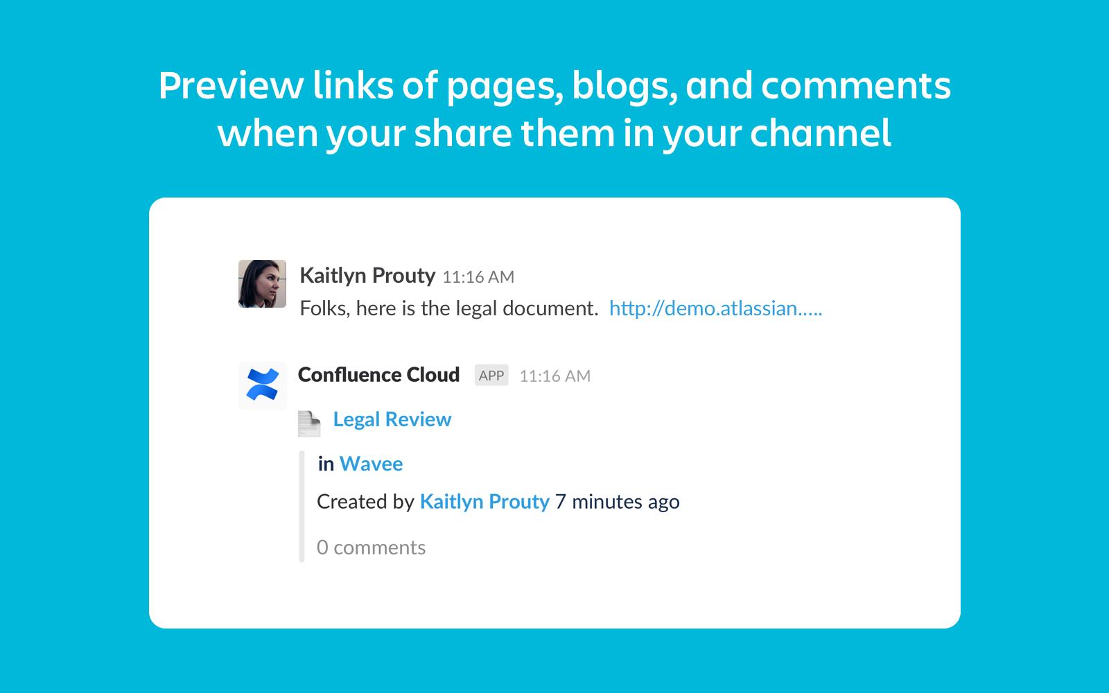 Veja blogs e páginas do Confluence no Slack