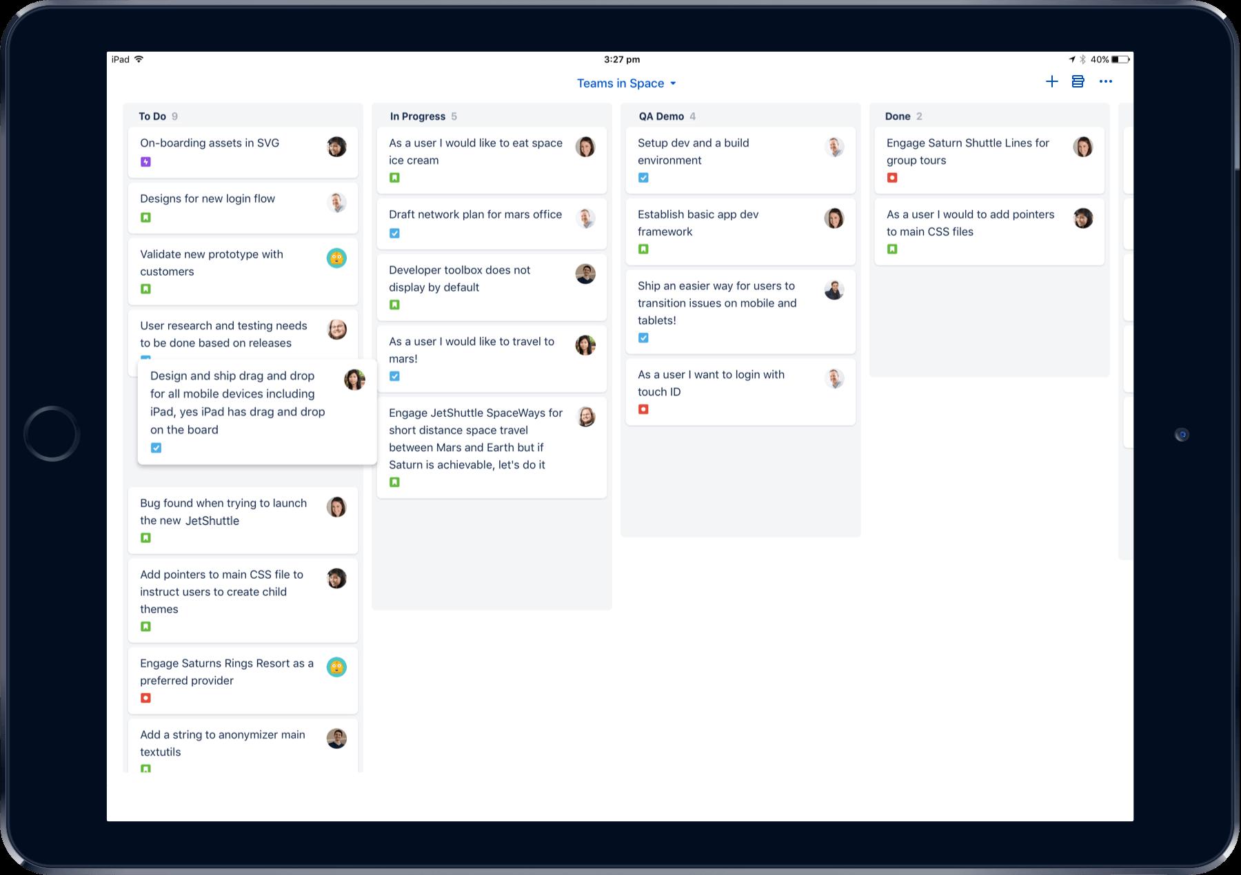 iPad 上の Jira Cloud モバイルのスクリーンショット