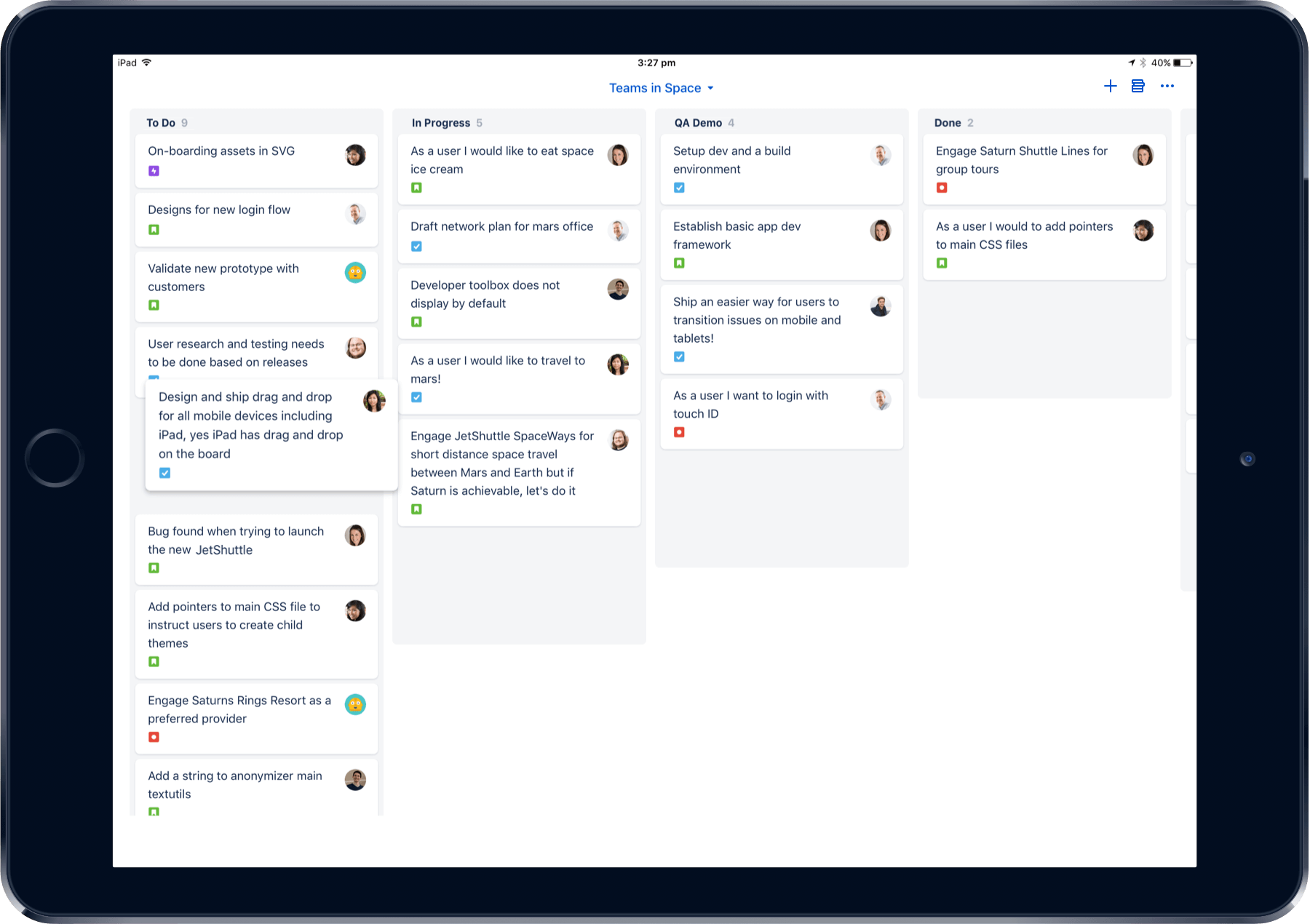 Captura de pantalla de Jira Cloud para móviles en un iPad