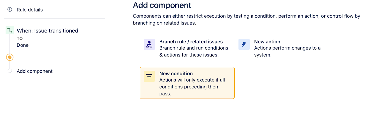 Select a new condition in Jira Software
