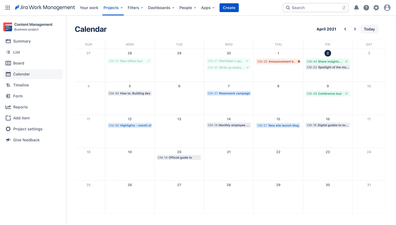Content management calendar view on Jira Work Management, Jira software