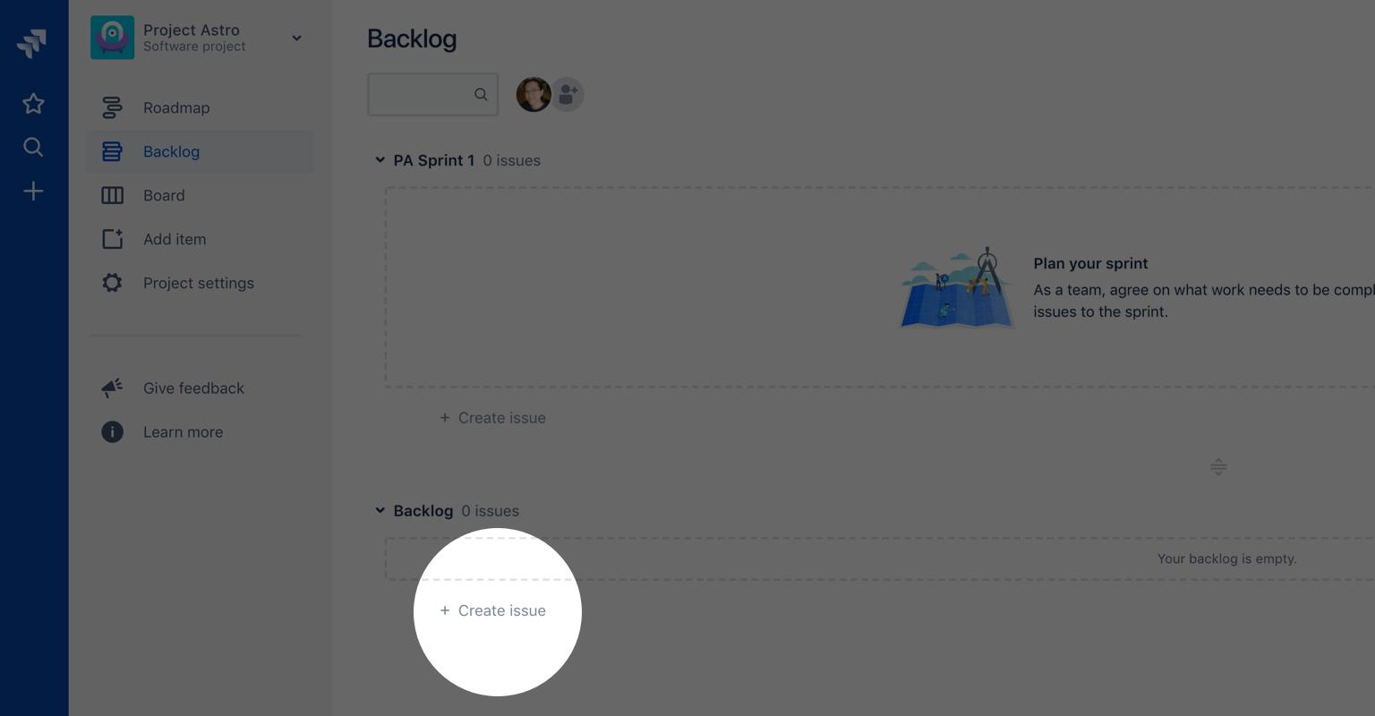 Captura de tela do botão Criar item