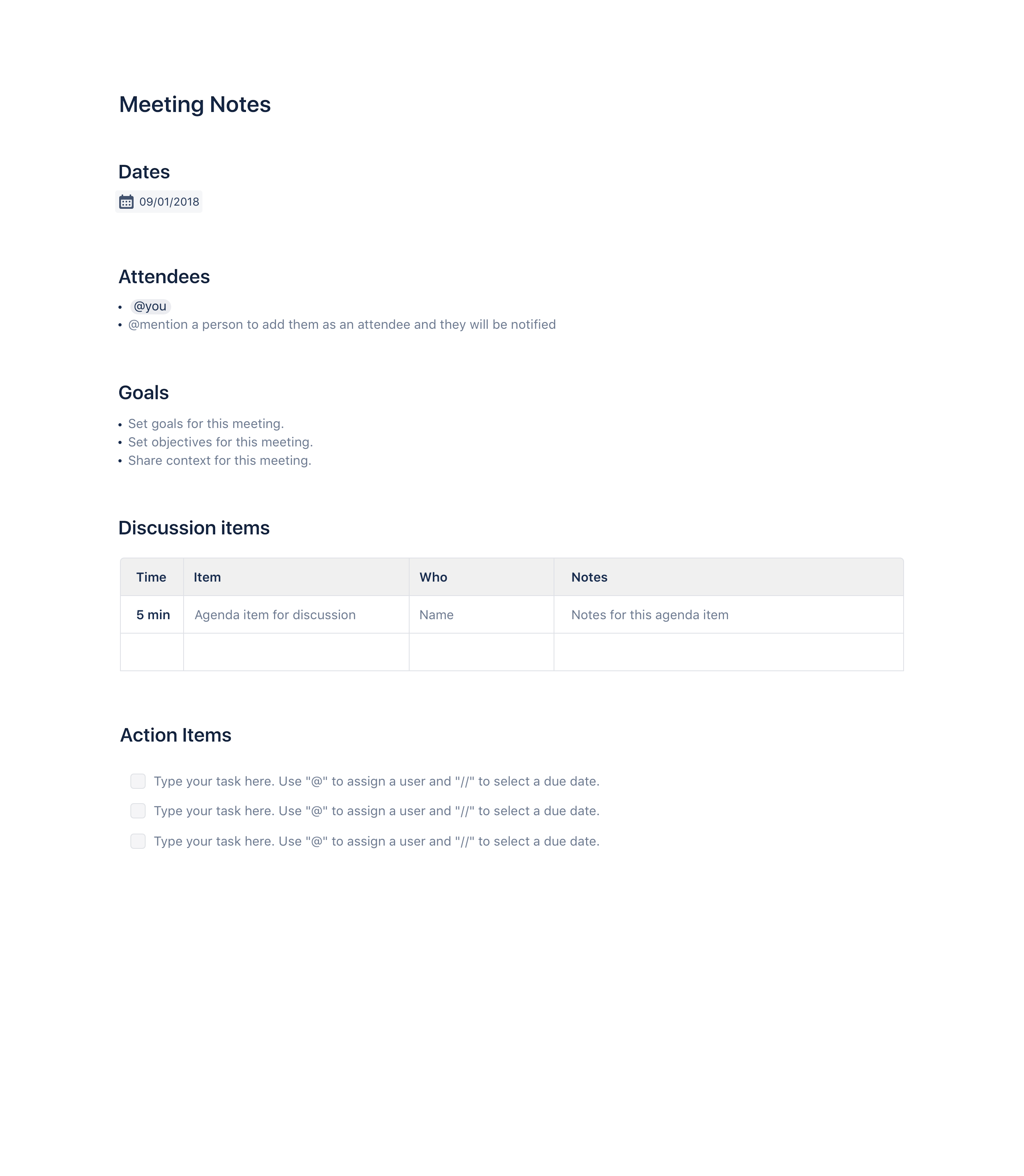 Meeting minutes template - Confluence | Atlassian