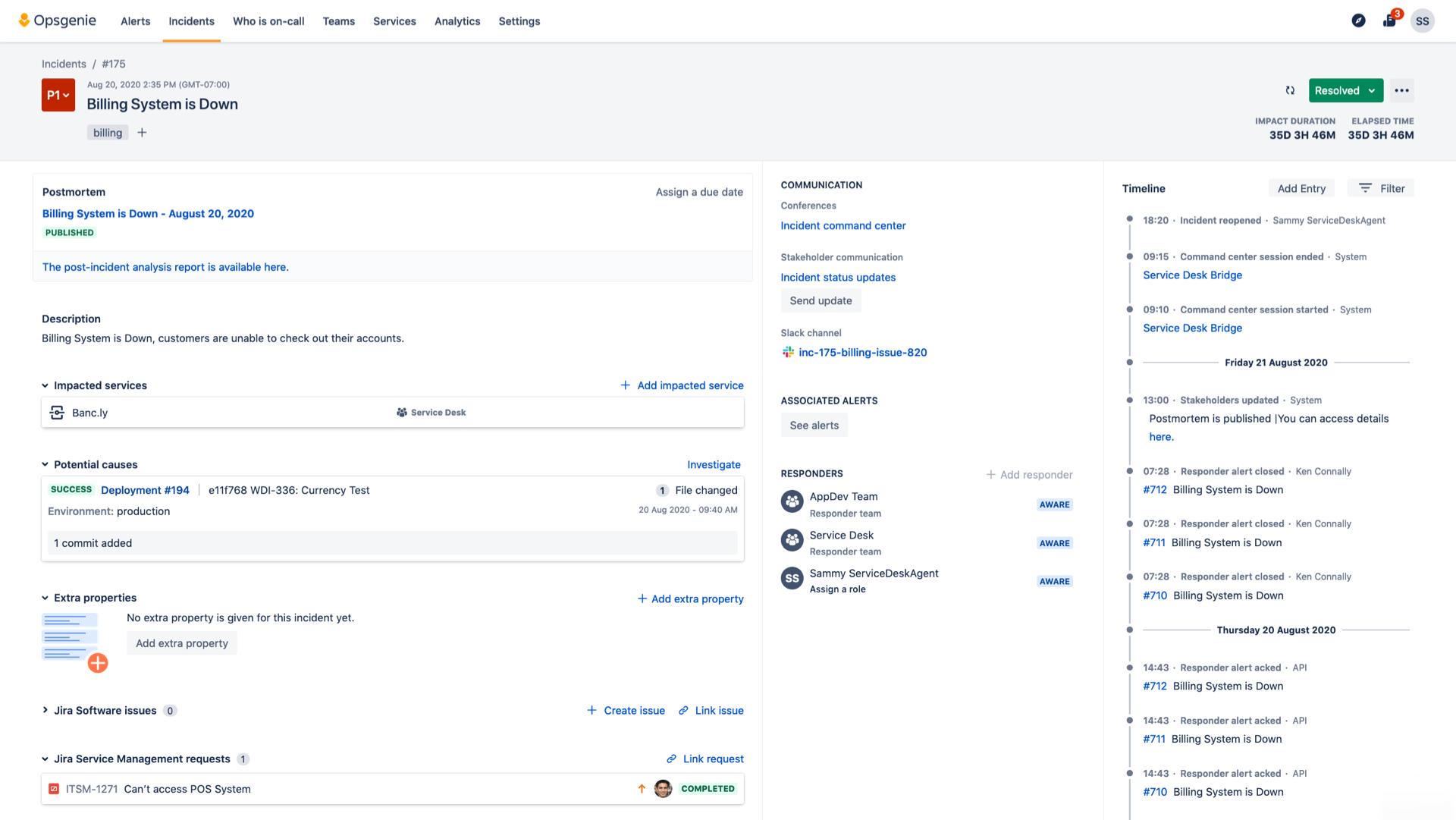 Screenshot di gestione degli imprevisti