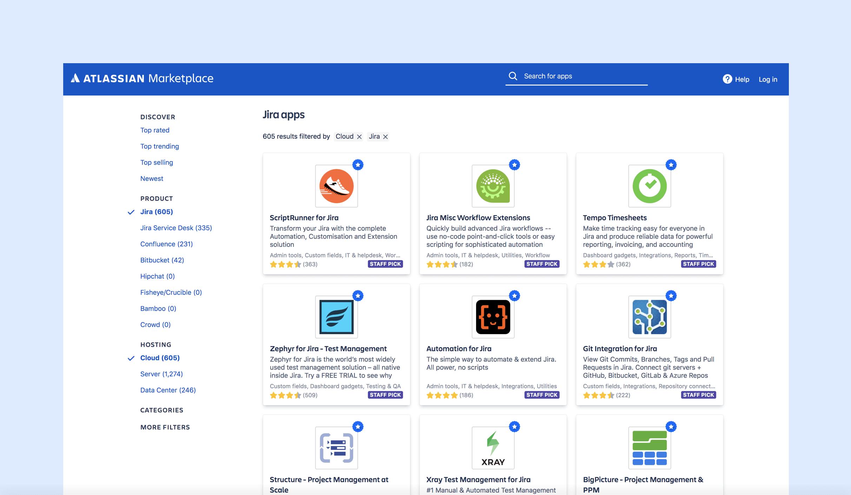 Zrzut ekranu sklepu Atlassian Marketplace
