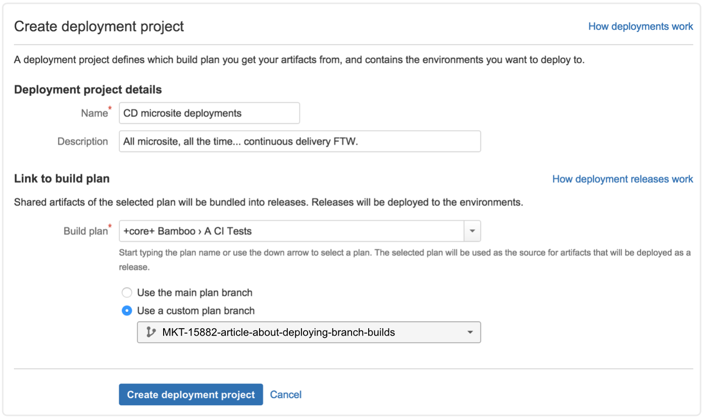 Create deployment project screenshot