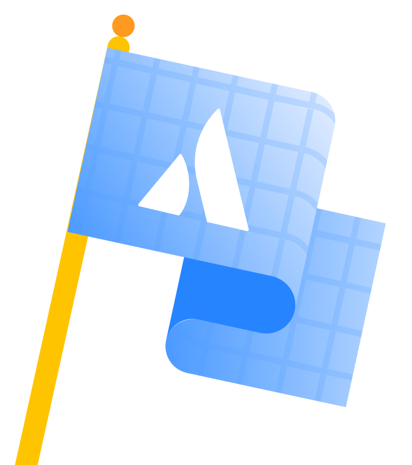 Point A のブループリントの旗