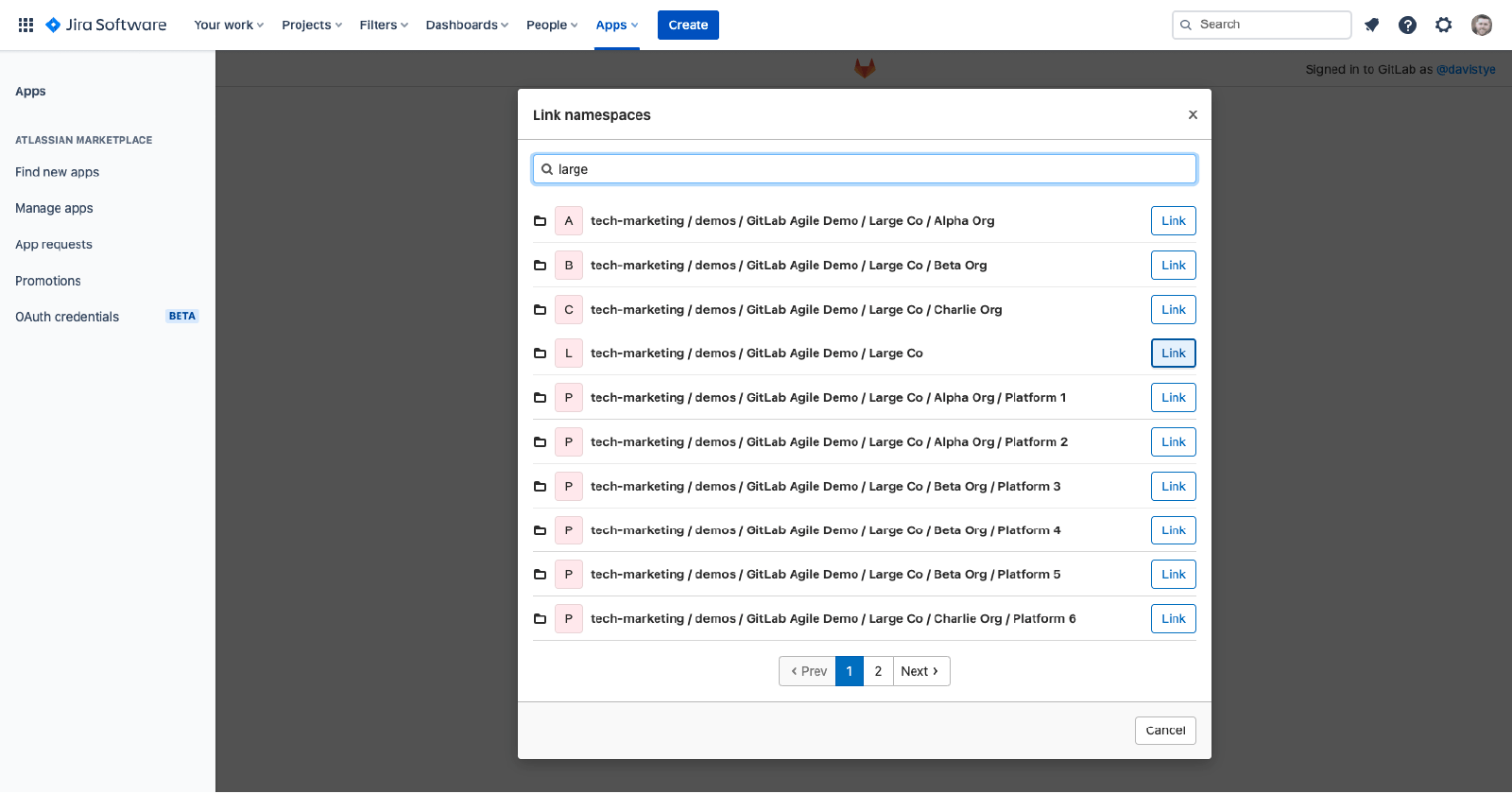 Link namespace from GitLab.com