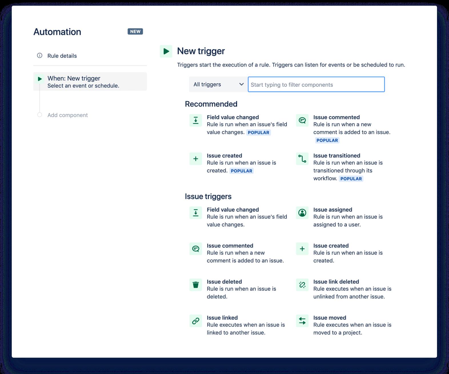 Jira Automation — zrzut ekranu nowego wyzwalacza