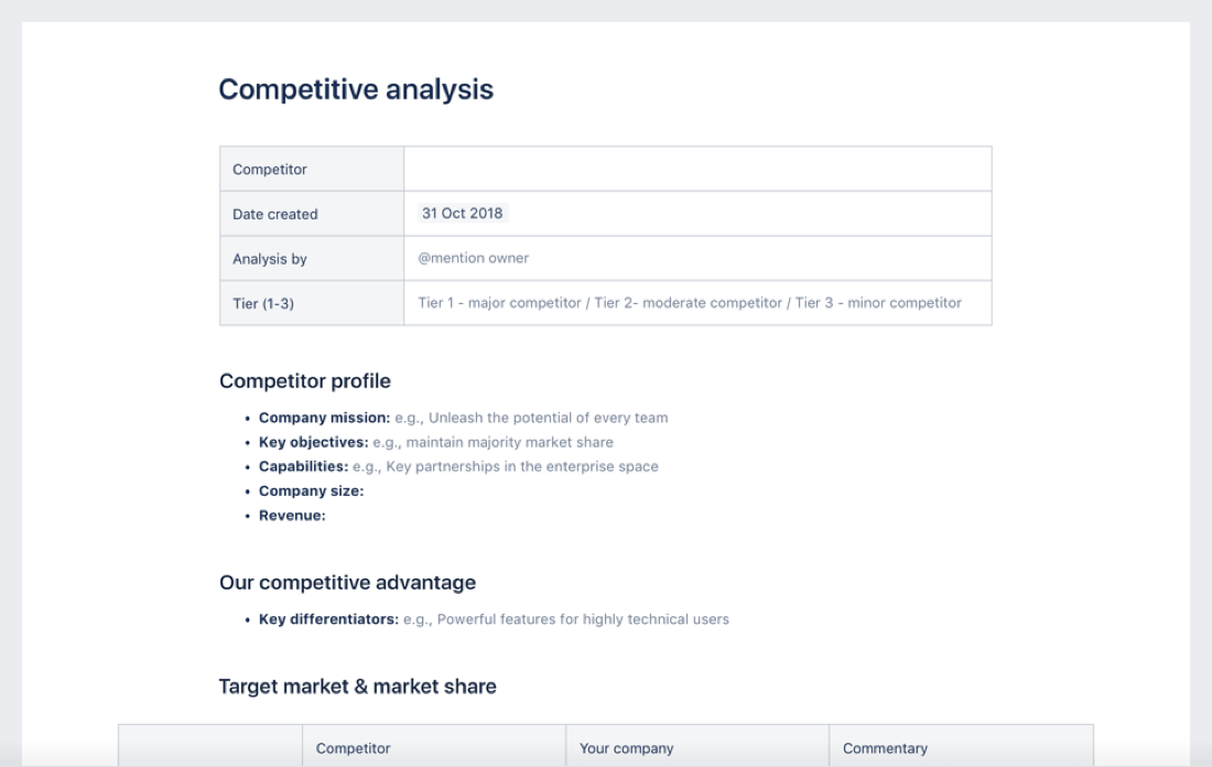 Competitive analysis template