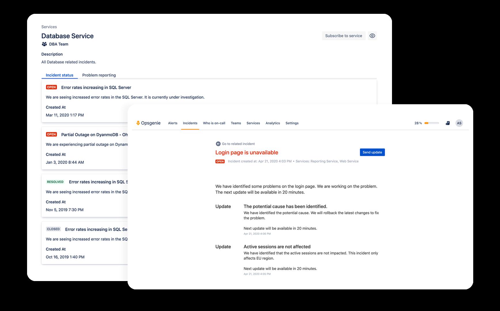 Снимок экрана: статус сервиса