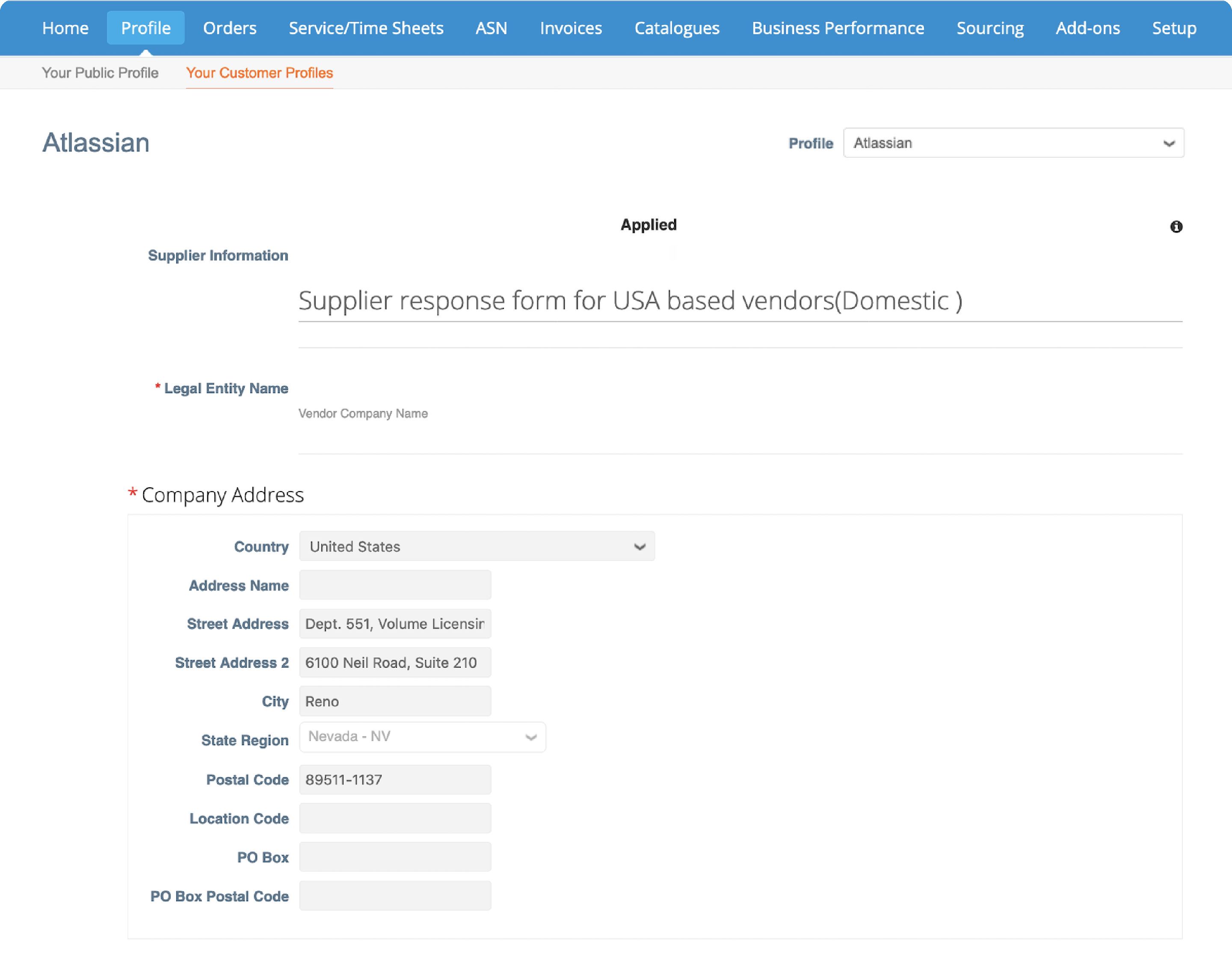 The supplier form will display with your account information we have on file.