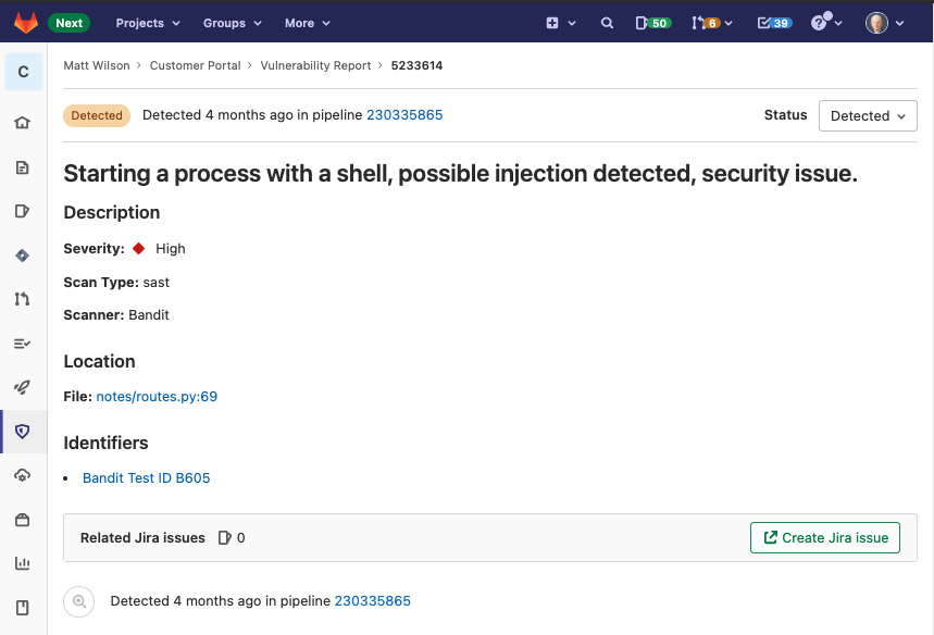 Create Jira issues directly in Gitlab based on vulnerability details