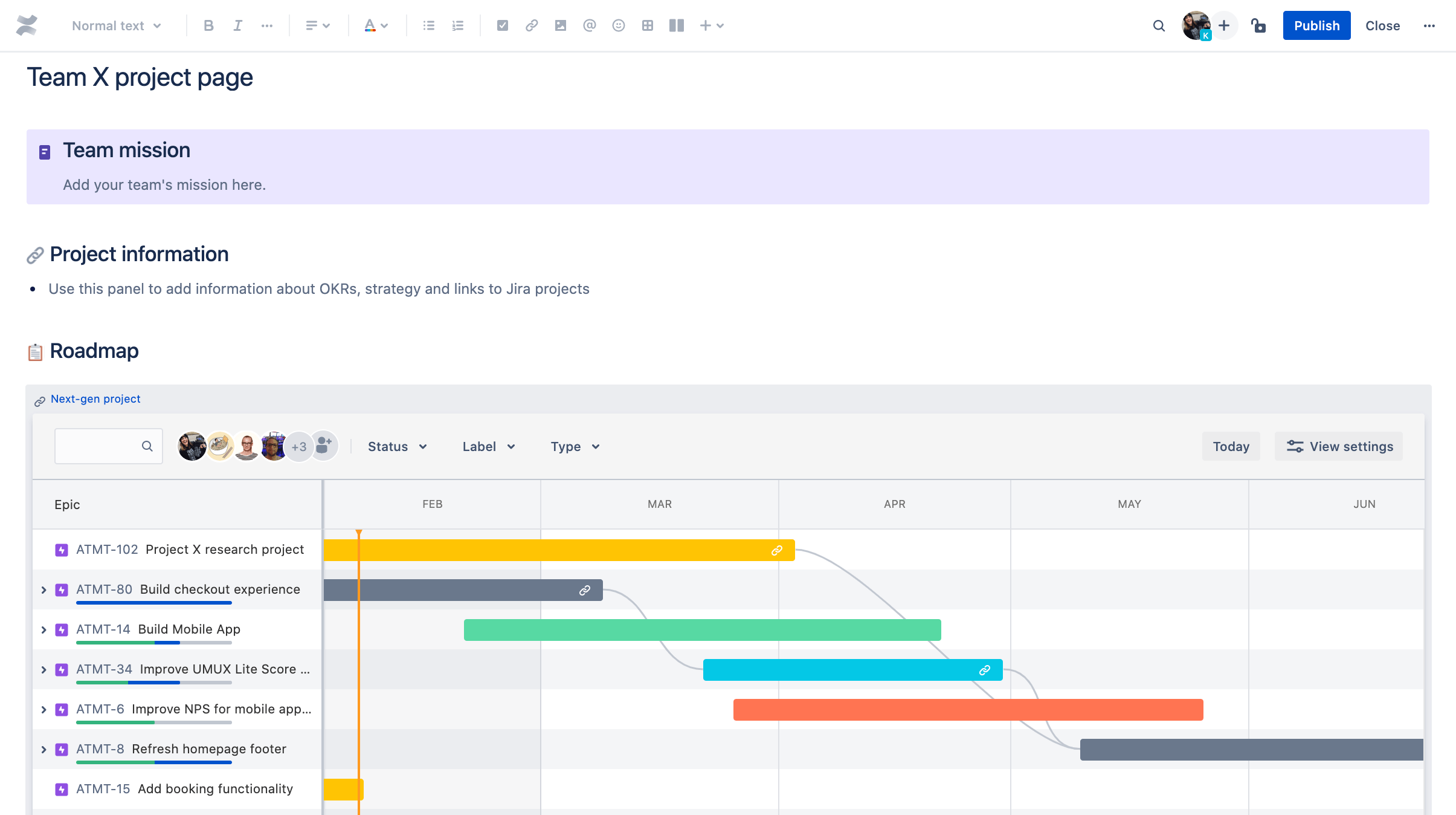 Jira Software Basic Roadmap in Confluence Cloud