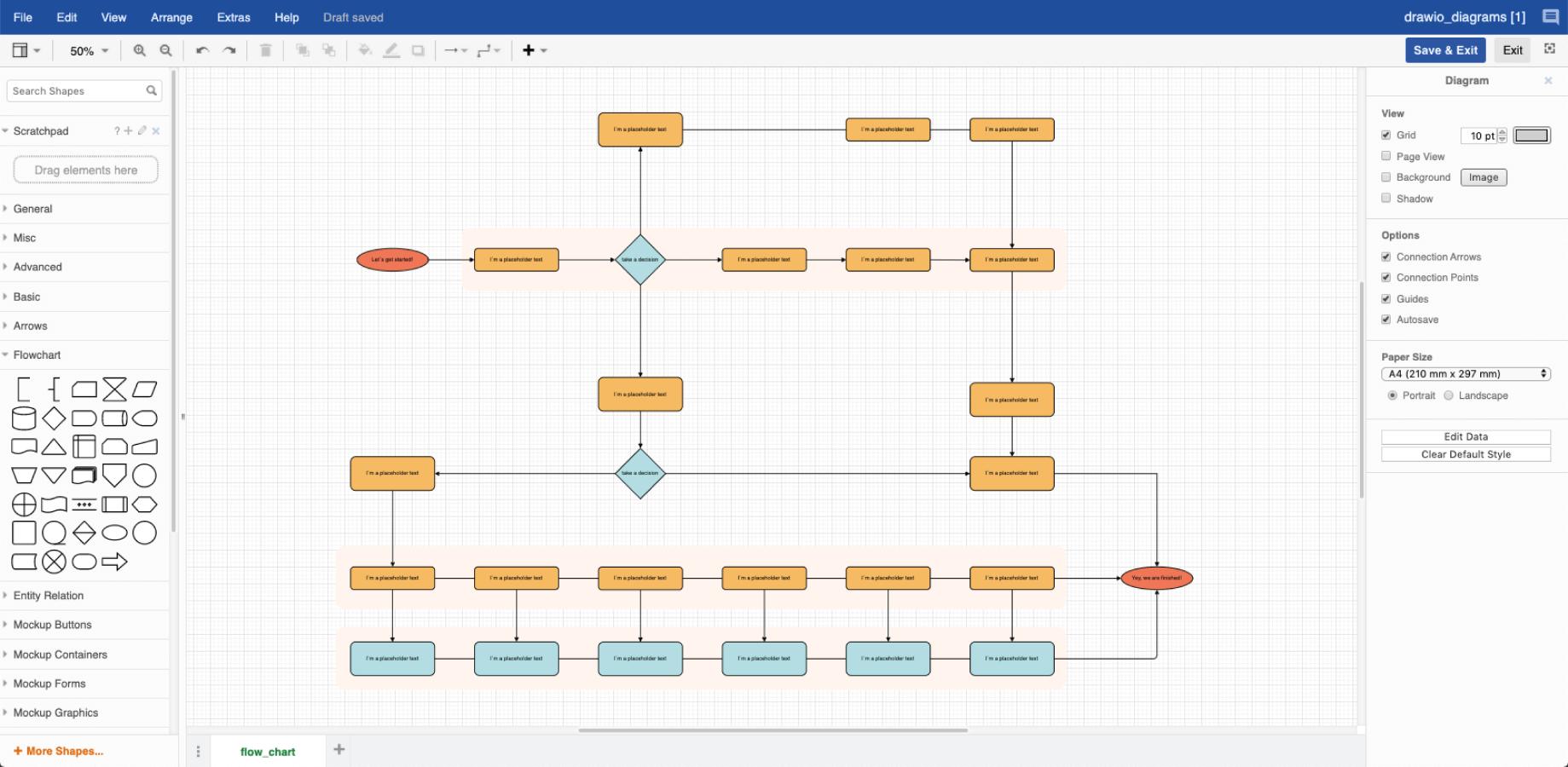 Ejemplo de diagrama de un proceso por cortesía de Draw.io