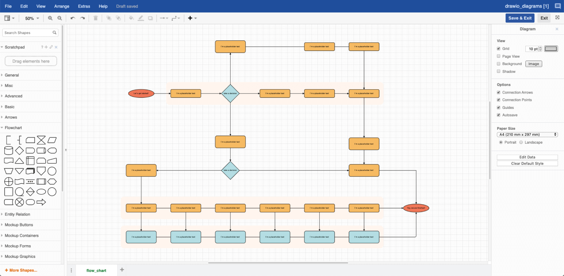 Diagrama de amostra de processo cortesia do Draw.io
