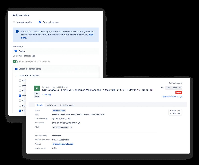 Captura de tela dos serviços externos