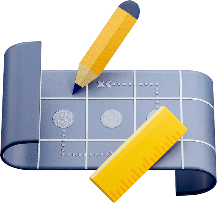 Blueprint avec crayon et règle