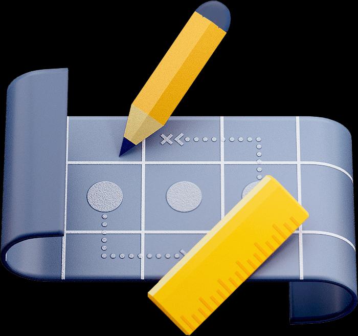鉛筆と定規が置かれたブループリント