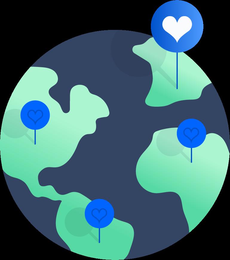 Globe with pins illustration
