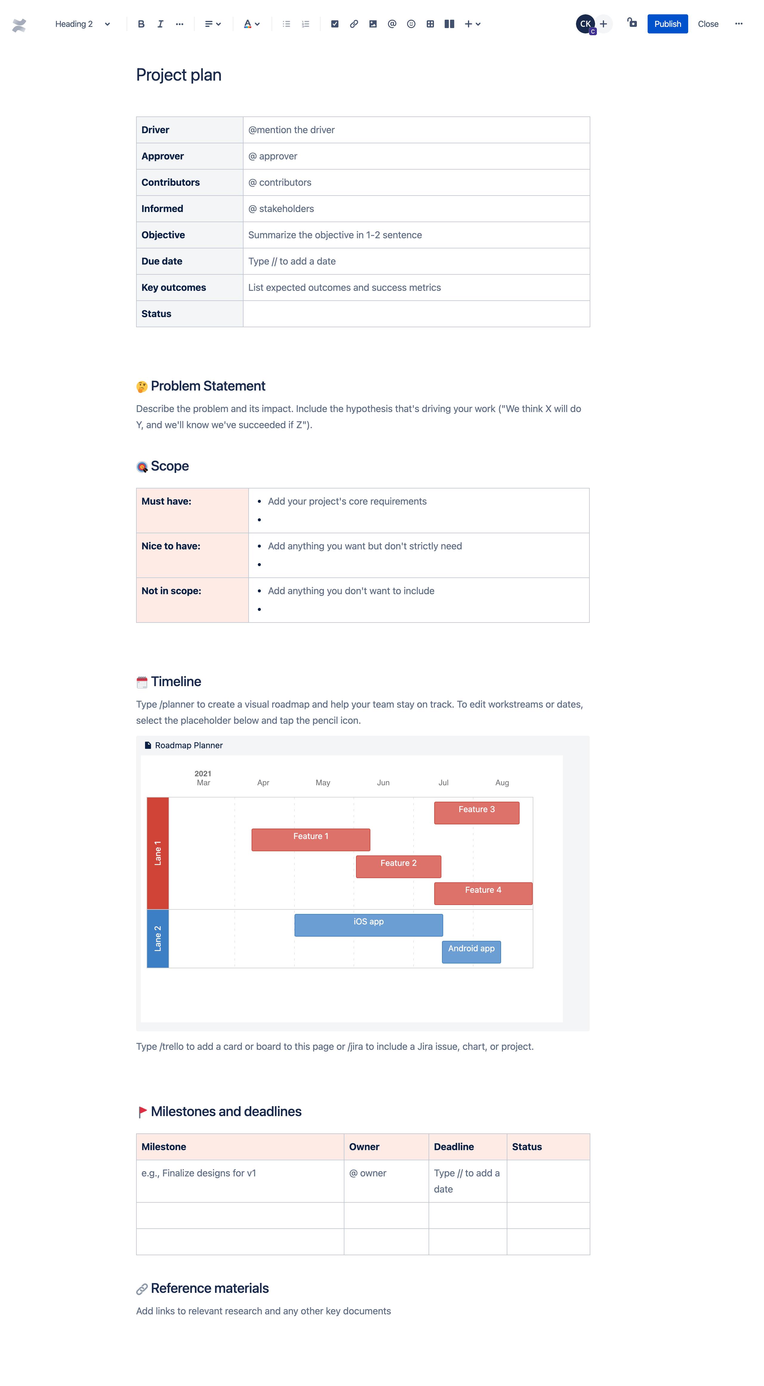 Modèle de plan de projet