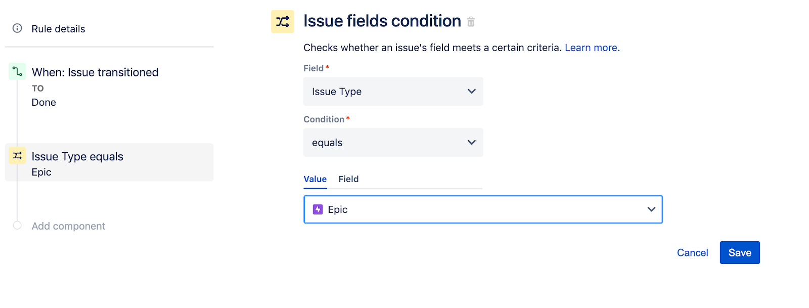Issue fields condition configuration screen