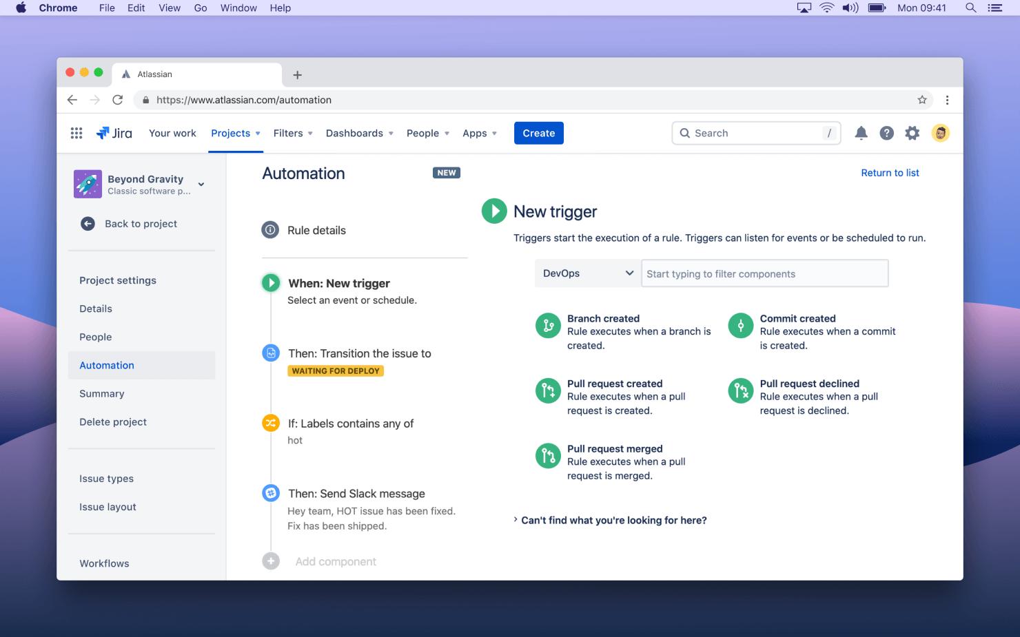 Automated collaboration screenshot