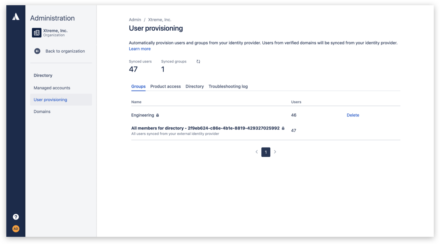 User provisioning screenshot